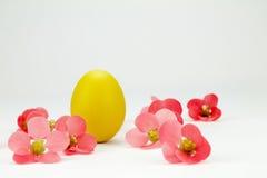 Κίτρινο αυγό Πάσχας των ρόδινων λουλουδιών που απομονώνονται μεταξύ Στοκ Φωτογραφίες