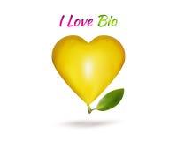 Κίτρινο αχλάδι με μορφή της καρδιάς με το κείμενο διανυσματική απεικόνιση
