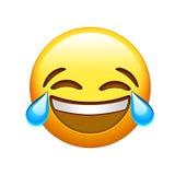 Κίτρινο γέλιο προσώπου Emoji lol και φωνάζοντας εικονίδιο δακρυ'ων Απεικόνιση αποθεμάτων