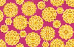 Κίτρινο γεωμετρικό floral σχέδιο στο ινδικό ύφος Στοκ Εικόνα