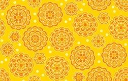 Κίτρινο γεωμετρικό floral σχέδιο στο ινδικό ύφος Στοκ φωτογραφίες με δικαίωμα ελεύθερης χρήσης