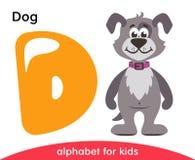 Κίτρινο γράμμα Δ και γκρίζο σκυλί ελεύθερη απεικόνιση δικαιώματος