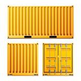 Κίτρινο διάνυσμα εμπορευματοκιβωτίων φορτίου Ρεαλιστικό εμπορευματοκιβώτιο φορτίου μετάλλων κλασικό Αντίληψη ναυτιλίας φορτίου Δι απεικόνιση αποθεμάτων