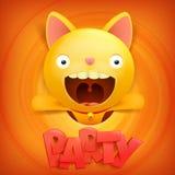 Κίτρινο εικονίδιο χαρακτήρα γατών κινούμενων σχεδίων emoji Κάρτα έννοιας κόμματος Στοκ Εικόνα