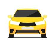 Κίτρινο εικονίδιο αυτοκινήτων μπροστινής άποψης στο επίπεδο σχέδιο Στοκ Φωτογραφία