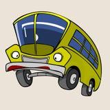 Κίτρινο λεωφορείο χαρακτήρα κινουμένων σχεδίων έκπληκτο Στοκ φωτογραφία με δικαίωμα ελεύθερης χρήσης