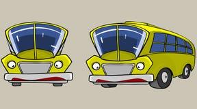 Κίτρινο λεωφορείο χαρακτήρα κινουμένων σχεδίων στις διαφορετικές γωνίες Στοκ Εικόνες