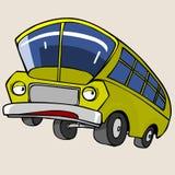 Κίτρινο λεωφορείο χαρακτήρα κινουμένων σχεδίων Στοκ φωτογραφία με δικαίωμα ελεύθερης χρήσης