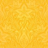 Κίτρινο ζωηρόχρωμο floral υπόβαθρο ταπετσαριών διανυσματική απεικόνιση