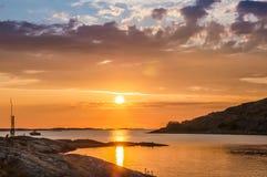 Κίτρινο ηλιοβασίλεμα Lilleby στοκ εικόνες