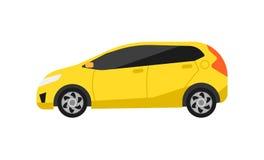 Κίτρινο διάνυσμα εικονιδίων αυτοκινήτων hatchback στο επίπεδο σχέδιο Στοκ εικόνα με δικαίωμα ελεύθερης χρήσης