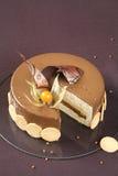 Κίτρινο κέικ Entremet δαμάσκηνων και φουντουκιών Στοκ φωτογραφία με δικαίωμα ελεύθερης χρήσης