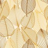 Κίτρινο και καφετί άνευ ραφής σχέδιο φύλλων Στοκ Φωτογραφία