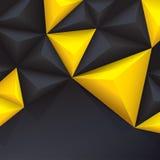 Κίτρινο και μαύρο διανυσματικό γεωμετρικό υπόβαθρο. Στοκ Φωτογραφία