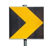 Κίτρινο και μαύρο οδικό σημάδι στροφής που απομονώνεται στο λευκό στοκ εικόνες με δικαίωμα ελεύθερης χρήσης