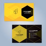 Κίτρινο και μαύρο σύγχρονο πρότυπο επαγγελματικών καρτών Στοκ Φωτογραφία