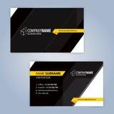 Κίτρινο και μαύρο σύγχρονο πρότυπο επαγγελματικών καρτών Στοκ φωτογραφία με δικαίωμα ελεύθερης χρήσης