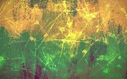 Κίτρινο και πράσινο υπόβαθρο κτυπημάτων βουρτσών κακογραφίας Στοκ Εικόνες