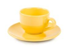 Κίτρινο κενό φλυτζάνι Στοκ φωτογραφία με δικαίωμα ελεύθερης χρήσης