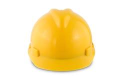 Κίτρινο κράνος ασφάλειας που απομονώνεται στο άσπρο υπόβαθρο Στοκ Φωτογραφία