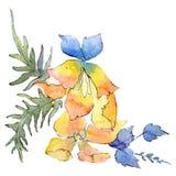 Κίτρινο μπλε βοτανικό λουλούδι Απομονωμένο στοιχείο απεικόνισης ανθοδεσμών πράσινο φύλλο καθορισμένο watercolor σχεδίου βάσεων αν απεικόνιση αποθεμάτων