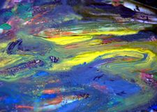 Κίτρινο μπλε σκοτεινό χρώμα watercolor, μαλακά χρώματα μιγμάτων, υπόβαθρο σημείων ζωγραφικής, ζωηρόχρωμο αφηρημένο υπόβαθρο water Στοκ Φωτογραφία