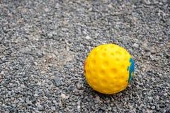 Κίτρινο παιχνίδι σφαιρών για το σκυλί σε στρώμα βράχου Στοκ Φωτογραφία