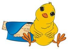 Κίτρινο πουλί και μετα τσάντα ` s απεικόνιση αποθεμάτων