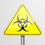 Κίτρινο προειδοποιητικό σημάδι Biohazard Στοκ Φωτογραφίες