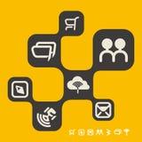 Κίτρινο πρότυπο σχεδίου Ιστού εφαρμογών σύννεφων Στοκ φωτογραφία με δικαίωμα ελεύθερης χρήσης
