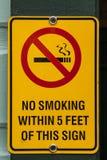 Κίτρινο σημάδι απαγόρευσης του καπνίσματος Στοκ Φωτογραφία