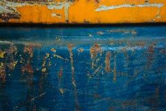Κίτρινο σκουριασμένο υπόβαθρο σύστασης χάλυβα τοίχων Στοκ Φωτογραφία