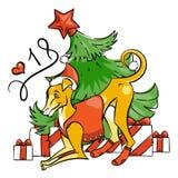 Κίτρινο σκυλί για το νέο έτος 2018, χαριτωμένο σύμβολο του ωροσκοπίου Χαριτωμένο κουτάβι στο ύφος κινούμενων σχεδίων doodle Στοκ Εικόνες