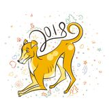Κίτρινο σκυλί για το νέο έτος 2018, χαριτωμένο σύμβολο του ωροσκοπίου Χαριτωμένο κουτάβι στο ύφος κινούμενων σχεδίων doodle Στοκ εικόνες με δικαίωμα ελεύθερης χρήσης