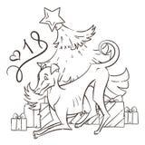 Κίτρινο σκυλί για το νέο έτος 2018, χαριτωμένο σύμβολο του ωροσκοπίου Χαριτωμένο κουτάβι στο ύφος κινούμενων σχεδίων doodle Στοκ Εικόνα