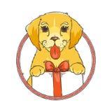 Κίτρινο σκυλί για το νέο έτος 2018, χαριτωμένο σύμβολο του ωροσκοπίου Χαριτωμένο κουτάβι στο ύφος κινούμενων σχεδίων doodle Στοκ εικόνα με δικαίωμα ελεύθερης χρήσης