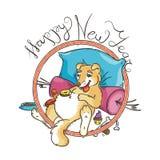 Κίτρινο σκυλί για το νέο έτος 2018, χαριτωμένο σύμβολο του ωροσκοπίου Χαριτωμένο κουτάβι στο ύφος κινούμενων σχεδίων doodle Στοκ φωτογραφία με δικαίωμα ελεύθερης χρήσης