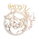 Κίτρινο σκυλί για το νέο έτος 2018, χαριτωμένο σύμβολο του ωροσκοπίου Χαριτωμένο κουτάβι στο ύφος κινούμενων σχεδίων doodle Στοκ Φωτογραφία
