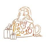 Κίτρινο σκυλί για το νέο έτος 2018, χαριτωμένο σύμβολο του ωροσκοπίου Χαριτωμένο κουτάβι στο ύφος κινούμενων σχεδίων doodle Στοκ φωτογραφίες με δικαίωμα ελεύθερης χρήσης