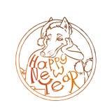 Κίτρινο σκυλί για το νέο έτος 2018, χαριτωμένο σύμβολο του ωροσκοπίου Χαριτωμένο κουτάβι στο ύφος κινούμενων σχεδίων doodle Στοκ Φωτογραφίες