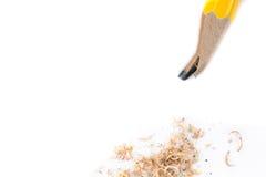 Κίτρινο σπασμένο μολύβι στο άσπρο υπόβαθρο Στοκ Φωτογραφία