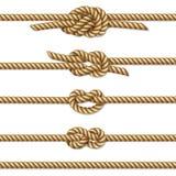 Κίτρινο στριμμένο σύνολο συνόρων σχοινιών, που απομονώνεται στο λευκό απεικόνιση αποθεμάτων