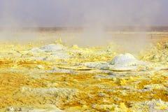 Κίτρινο τοπίο του ηφαιστείου Dallol Στοκ εικόνα με δικαίωμα ελεύθερης χρήσης