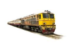 Κίτρινο τραίνο πομπής που οδηγείται με την παλαιά ηλεκτρική ατμομηχανή diesel στις διαδρομές Στοκ εικόνες με δικαίωμα ελεύθερης χρήσης