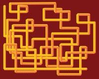 Κίτρινο τρισδιάστατο σχέδιο σωλήνων διανυσματική απεικόνιση