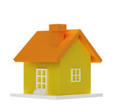 Κίτρινο τρισδιάστατο σπίτι στοκ εικόνες