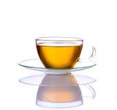 Κίτρινο τσάι στο φλυτζάνι γυαλιού Στοκ φωτογραφίες με δικαίωμα ελεύθερης χρήσης