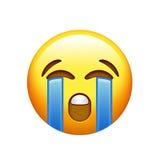 Κίτρινο λυπημένο πρόσωπο Emoji με το φωνάζοντας εικονίδιο δακρυ'ων Στοκ Εικόνες