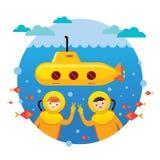 Κίτρινο υποβρύχιο με την κατάδυση παιδιών Απεικόνιση αποθεμάτων