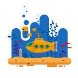Κίτρινο υποβρύχιο με την υποβρύχια έννοια περισκοπίων Θαλάσσια ζωή με τα ψάρια, κοράλλι, φύκι, ζωηρόχρωμο μπλε ωκεάνιο τοπίο διανυσματική απεικόνιση